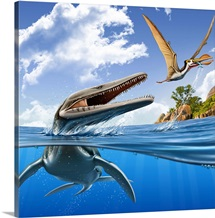 A Plesiopleurodon jumps out of the water, attacking an Ornithocheirus