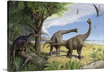 A raptor stalks a pair of grazing Europasaurus holgeri dinosaurs