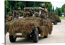 A recce or scout team of the Belgian Army in their VW Iltis jeeps in action