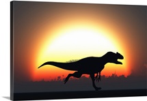 A silhouetted Allosaurus sprinting against a setting set at the end of a Jurassic day
