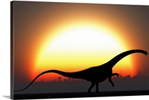 A silhouetted Diplodocus dinosaur takes at the start of a prehistoric day