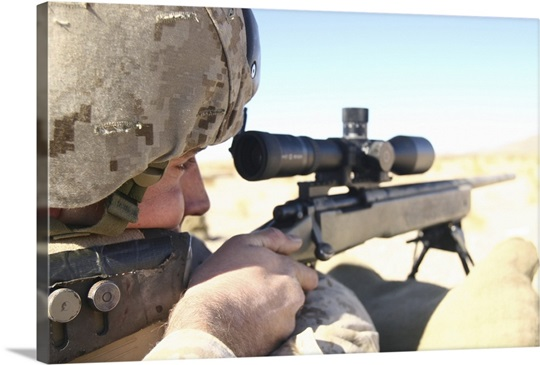 A soldier aims in with his M40A3 Scout Sniper Rifle