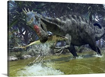 A Suchomimus snags a shark from a lush estuary