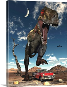 A Tyrannosaurus Rex about to crush a Cadillac with his feet