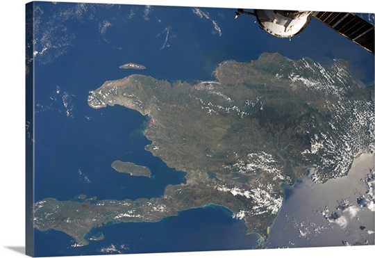 A view of the Caribbean island of Hispaniola from the International Space Station