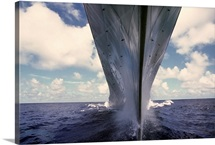A waterlevel bow view of the battleship USS Missouri