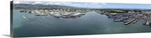Aerial view of military ships moored at Joint Base Pearl Harbor-Hickam, Hawaii