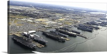 Aircraft carriers in port at Naval Station Norfolk, Virginia