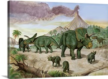 An Albertosaurus observes a family of Arrhinoceratops