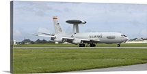 An E-3 AWACS comes in to land at Kadena Air Base, Okinawa, Japan