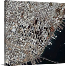 An obliqueangle view of San Franciscos financial district