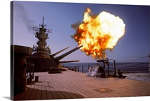 Battleship USS Wisconsin fires one of the Mark 7 16inch/50caliber guns