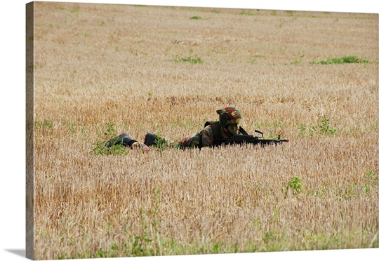 Belgian paratroopers on guard in the fields