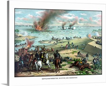 Civil War print showing the Naval Battle of the Monitor and The Merrimack
