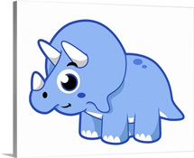 Cute illustration of a Triceratops dinosaur