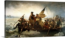 Digitally restored vector painting of George Washington crossing the Delaware.