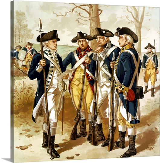 Digitally restored vector painting of soldiers of the Continental Army