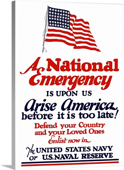 Digitally restored vector war propaganda poster.  A national emergency is upon us
