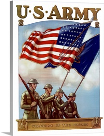 Digitally restored vector war propaganda poster. U.S. Army, Guardian Of The Colors