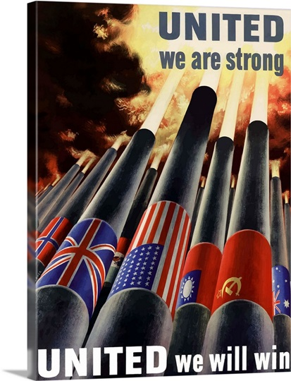 Digitally restored vector war propaganda poster - United we are strong
