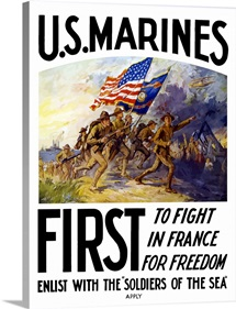 Digitally restored vector war propaganda poster. US Marines, First To Fight In France