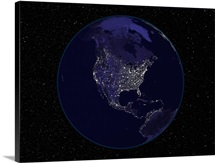 Fully dark city lights image of Earth centered on North America