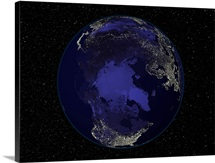 Fully dark city lights image of Earth centered on the North Pole