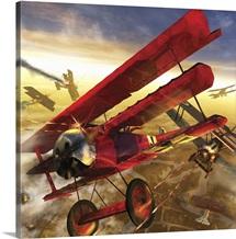 German triple wing bi-plane The Red Baron
