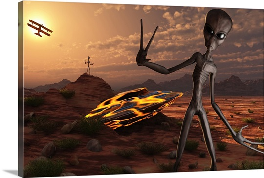 Grey Aliens At The Site Of Their Ufo Crash Photo Canvas