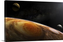 Jupiters moons Io and Europa hover over the Great Red Spot on Jupiter