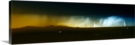 Lightning storm over northern New Mexico plains