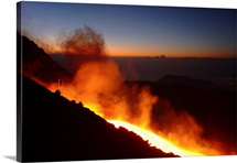 Mount Etna lava flow in morning dawn Sicily Italy