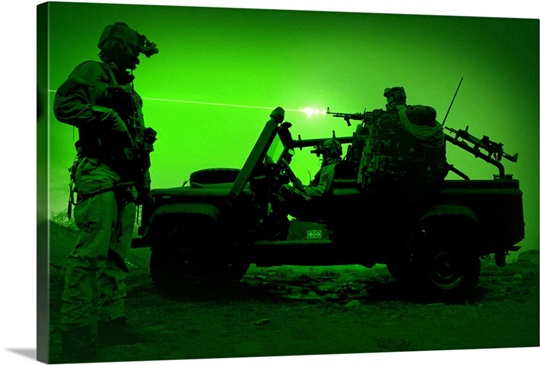 Night vision view of U.S. Special Forces on patrol