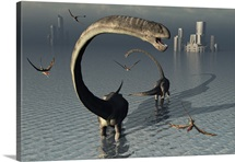 Omeisaurus sauropod dinosaurs cooling off in the Jurassic waters of what is now China