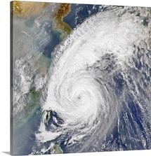 Satellite image of a typhoon