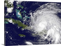 Satellite view of Hurricane Irene approaching the Bahamas