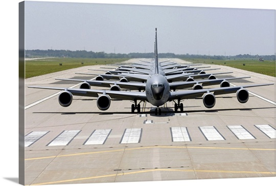 Six KC135 Stratotankers demonstrate the elephant walk formation