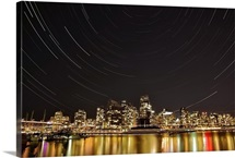 Star trails above Downtown Vancouver British Columbia Canada