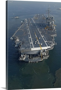 The conventionally powered aircraft carrier USS Kitty Hawk