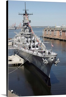 The decommissioned US Navy Battleship USS Wisconsin berthed to the pier