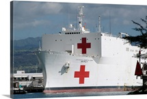 The Military Sealift Command hospital ship USNS Mercy moored in Pearl Harbor