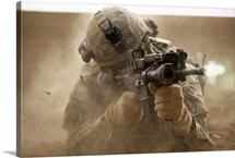 U.S. Army Ranger in Afghanistan combat scene