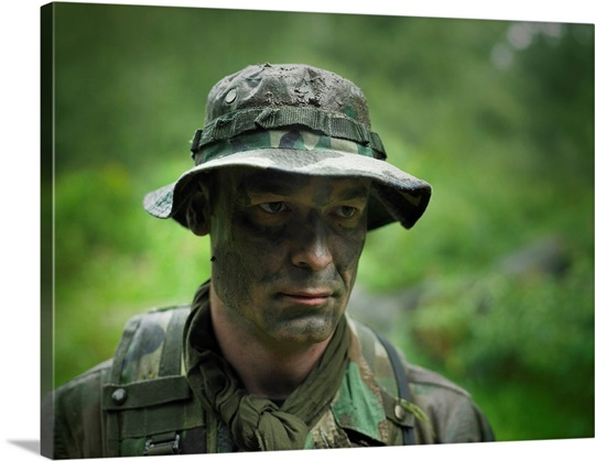 U.S. Special Forces soldier with camouflage face paint