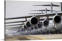 US Air Force C17 Globemaster IIIs lined up on the runway awaiting takeoff
