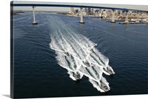 US Navy patrol boats conduct operations near the Coronado Bay Bridge in San Diego