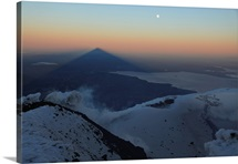 Villarrica summit view with shadow at sunrise Araucania region Chile