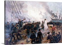 Vintage American Civil War print of The Battle of Cherbourg