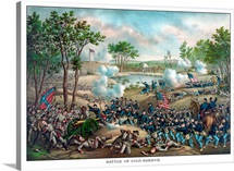 Vintage Civil War print of the Battle of Cold Harbor