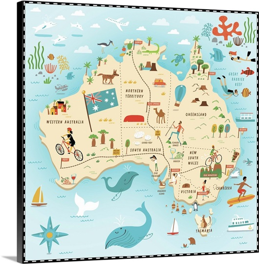 Illustrated Map of Australia Wall Art Canvas Prints Framed – Big Map of Australia