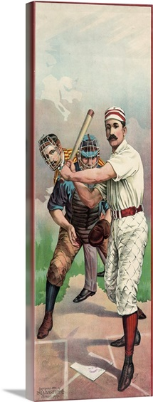 A baseball player in front of a catcher and umpire, 1895